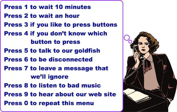 Cartoon, using clip art bought by Steve Kaye, in Voice Mail Fun