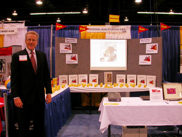 Steve Kaye at PIHRA Conference, in His Booth Promoting his Workshops on Leadership Skills, in Meeting Planners, Hello and Welcome